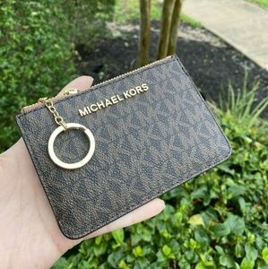 Michael Kors Coin Pouch ID Walle Key Chain Brown
